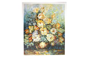 Reproduksjon med motiv av stor blomsterbukett i vase. Bilde.