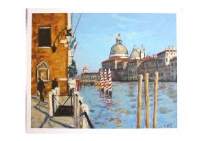 Reproduksjon med motiv av kanal i Venezia. Bilde.