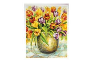 Reproduksjon med motiv av fargerike tulipaner i vase. Bilde.