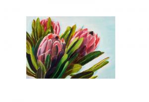 Dobbeltkort med bilde av tre blomster. Bilder.